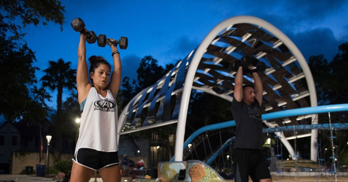 Camp Gladiator exercise classes at Hemisfair