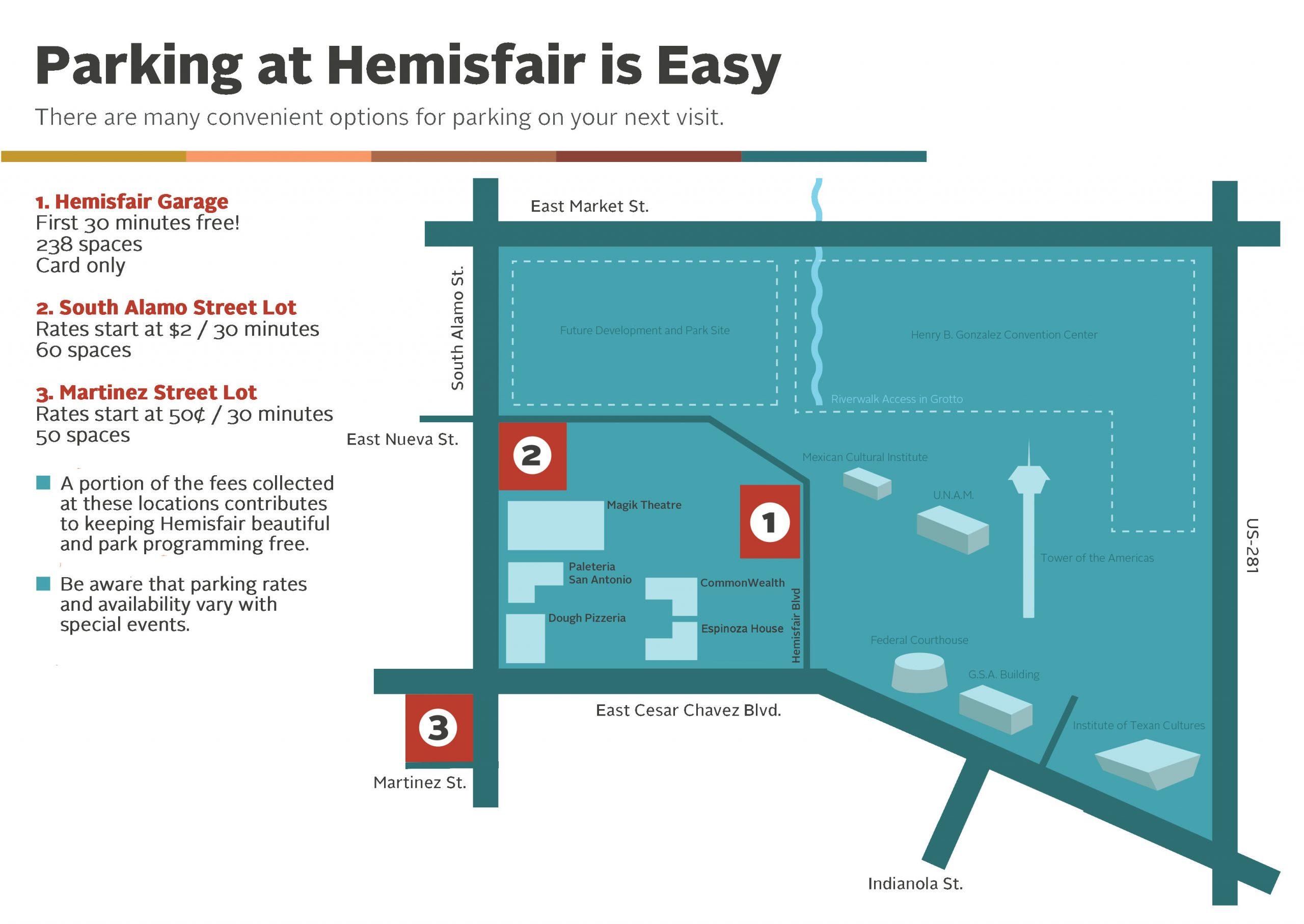 Hemisfair Parking Map